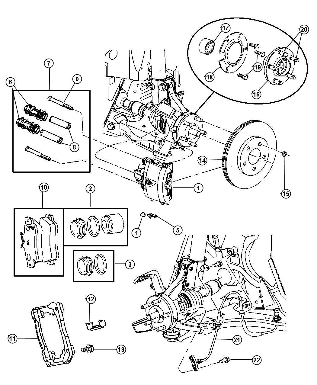 Dodge Stratus Pad Kit Left Disc Brake Front Disc