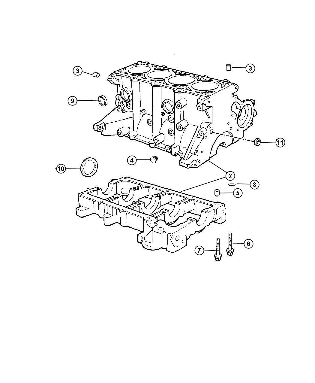 Dodge Neon Block Short Engine Cylinder Sohc