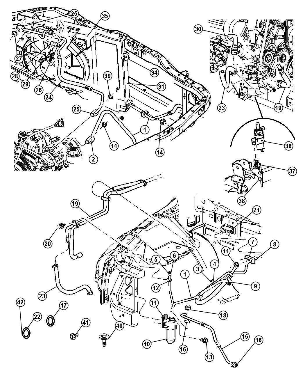 Chrysler Aspen Drier Air Conditioning Filter Heater Rear Plumbing