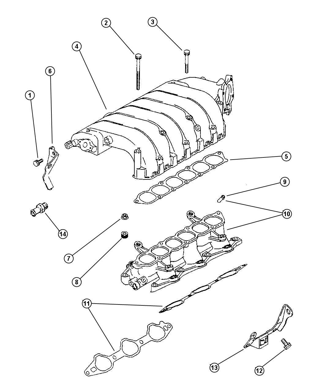 Chrysler Cirrus Gasket Intake Plenum Gasket Intake