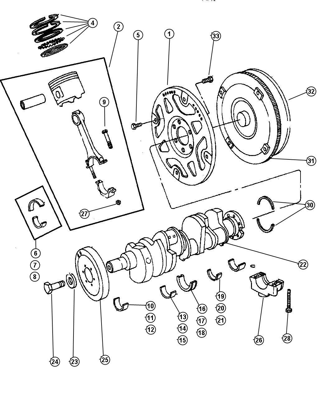 Jeep Cherokee Plate Torque Converter Drive Piston Crankshaft Engine