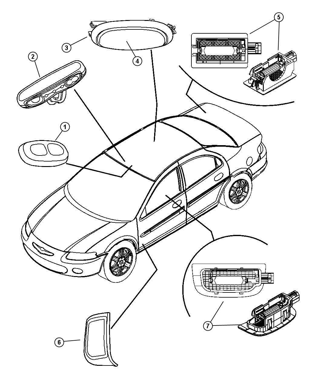 Chrysler Pt Cruiser Lamp Dome Trim All Trim Codes