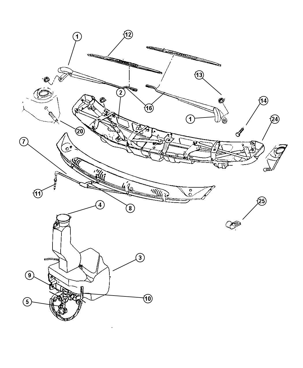 Dodge Ram Nozzle Washer Windshield Washer Wiper Body