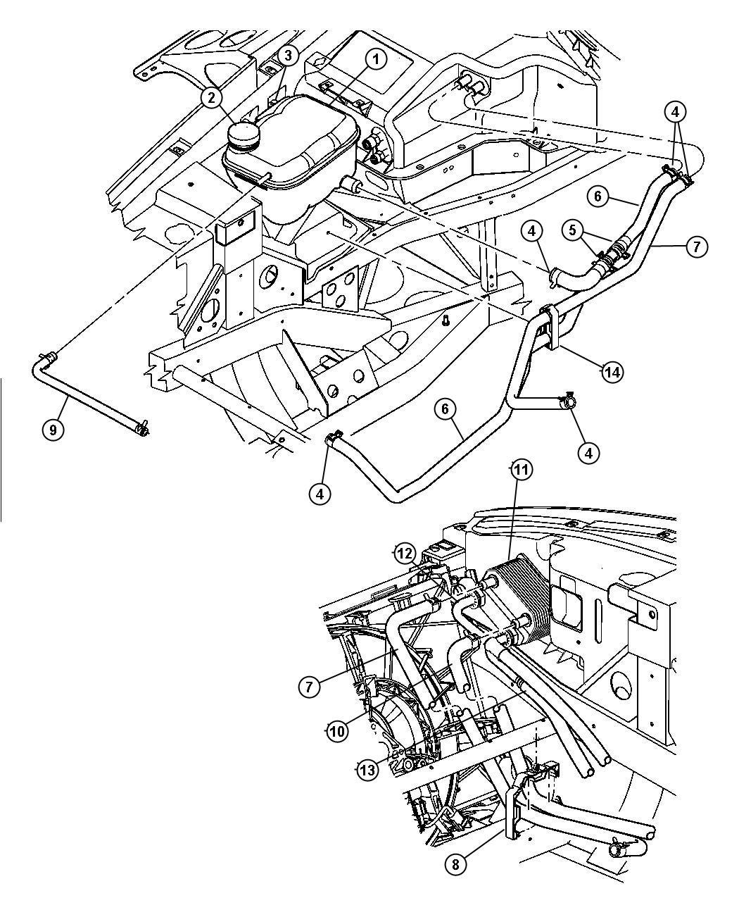Dodge Durango Hose Heater Return Coolant Floor