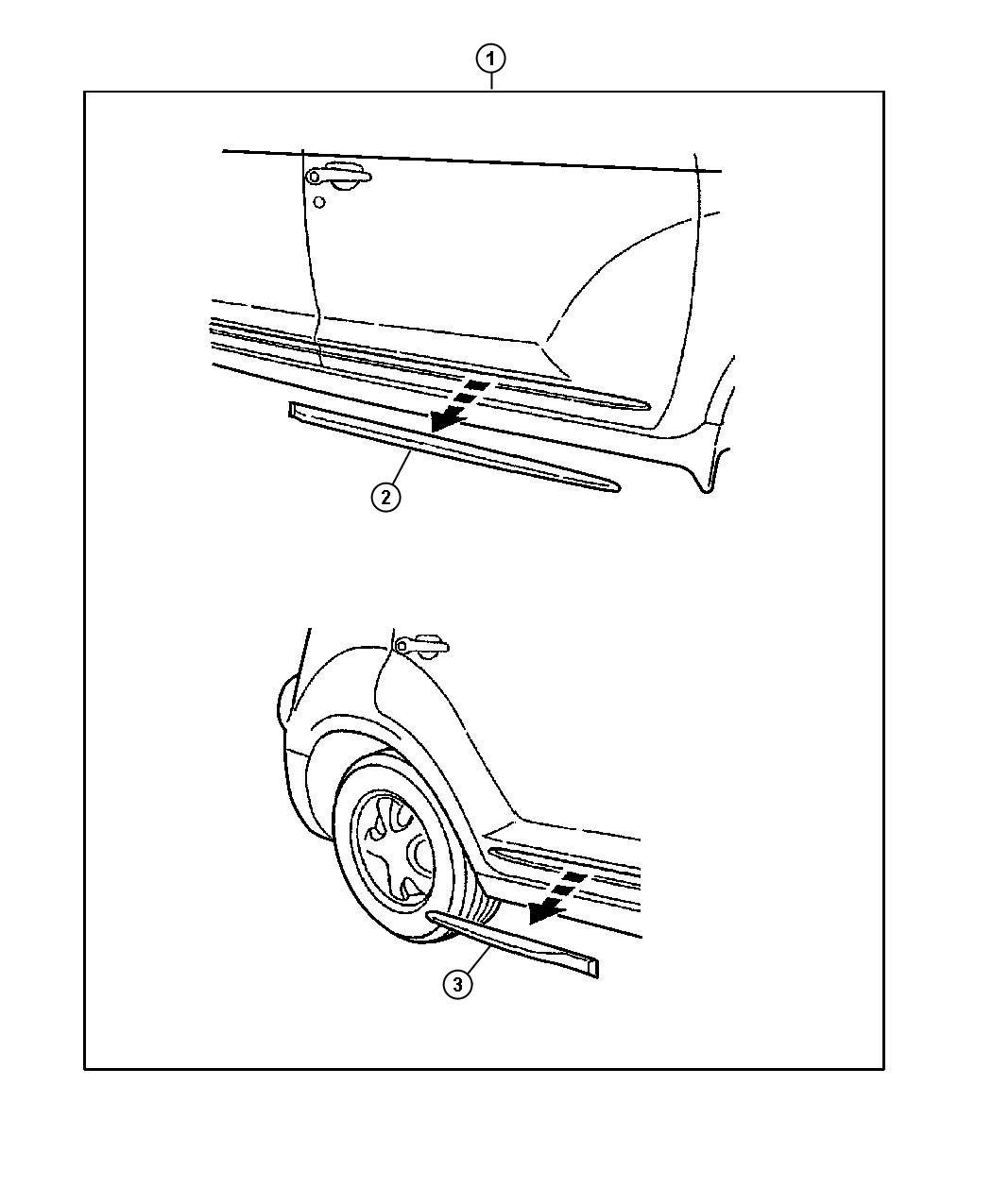 Chrysler Pt Cruiser Molding Front Door Lower Used For