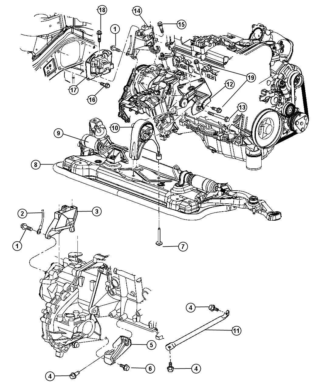 Dodge Stratus Module Engine Support Rear Mounts