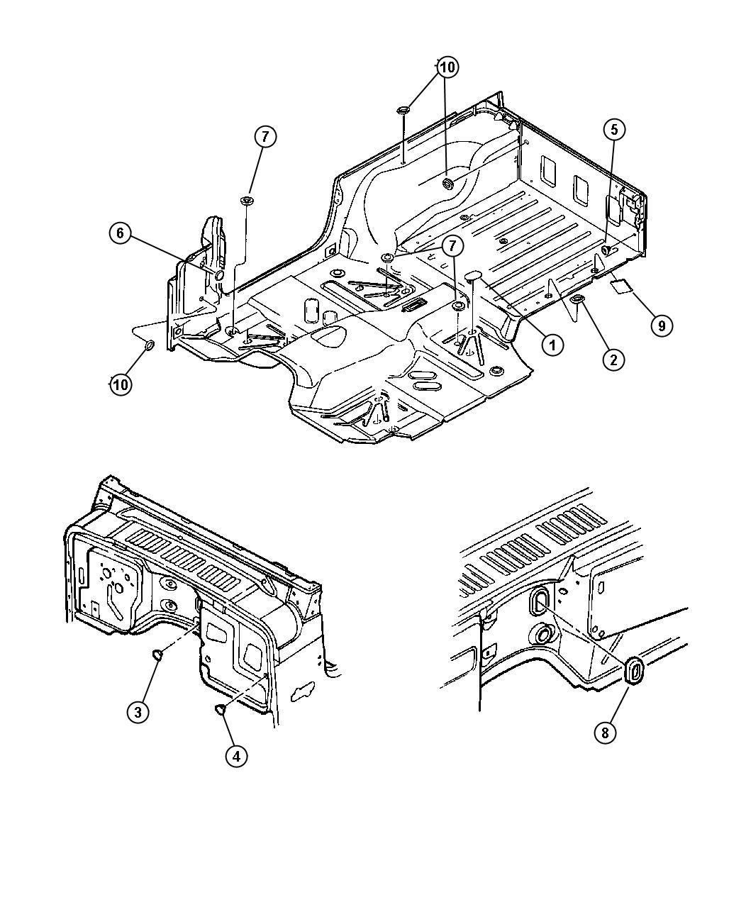 Jeep Wrangler Plug Floor Pan Rubber Liftgate Plugs