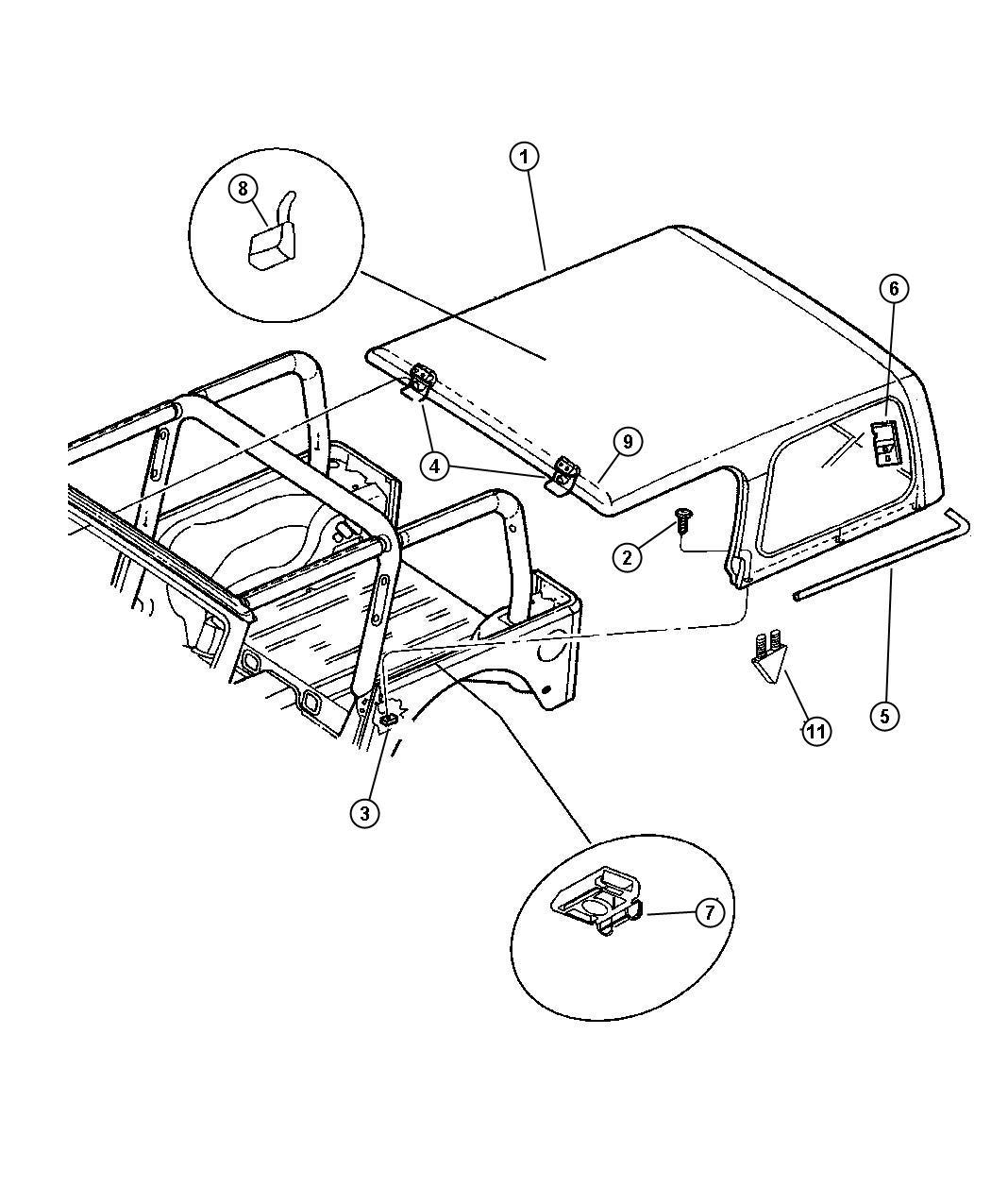 Jeep Wrangler Retainer Folding Top Deck Closure Dual
