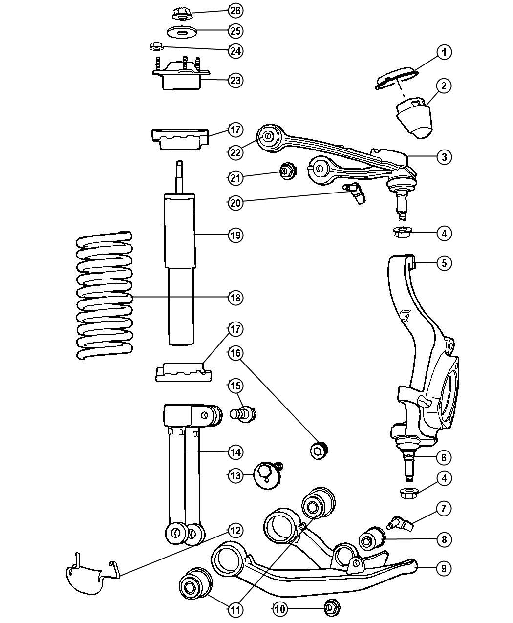 Jeep Liberty Shock Absorber Suspension Front Right