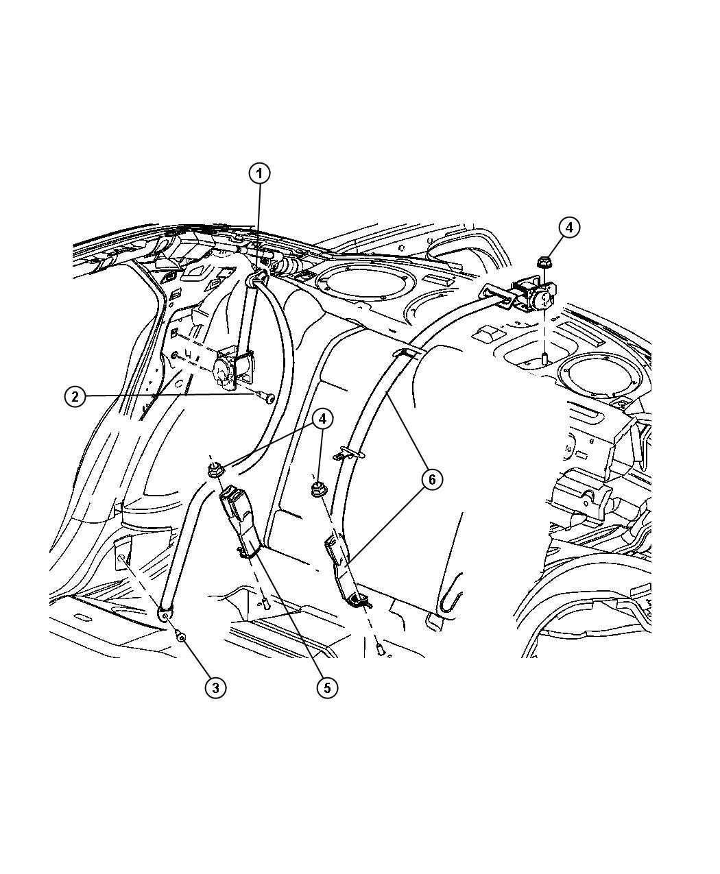 Dodge Magnum Seat Belt Rear Inner Dd Trim O0