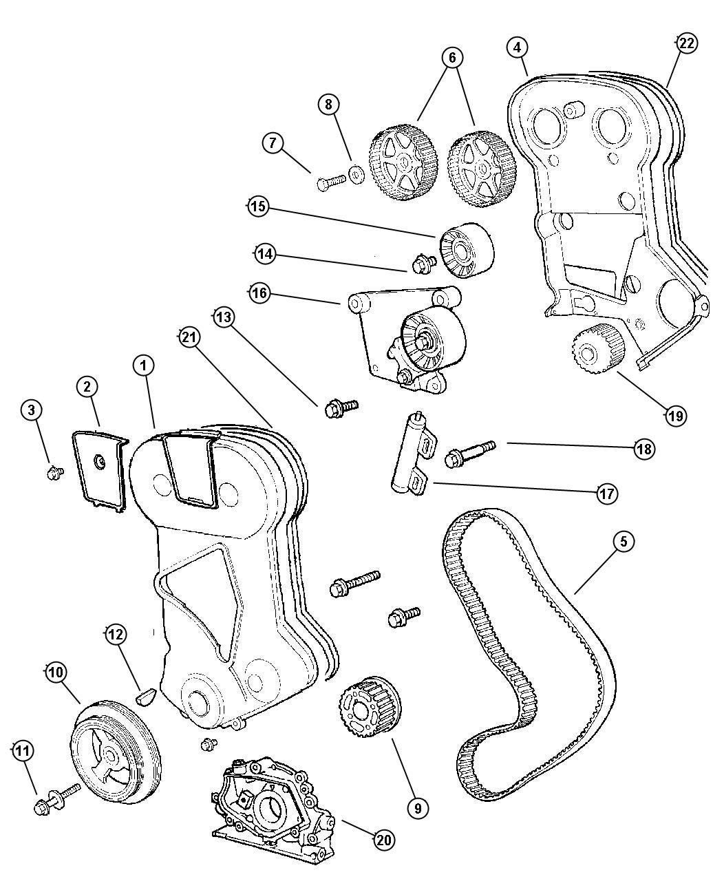 Dodge Avenger Pulley Timing Belt Cover Emissions Dohc