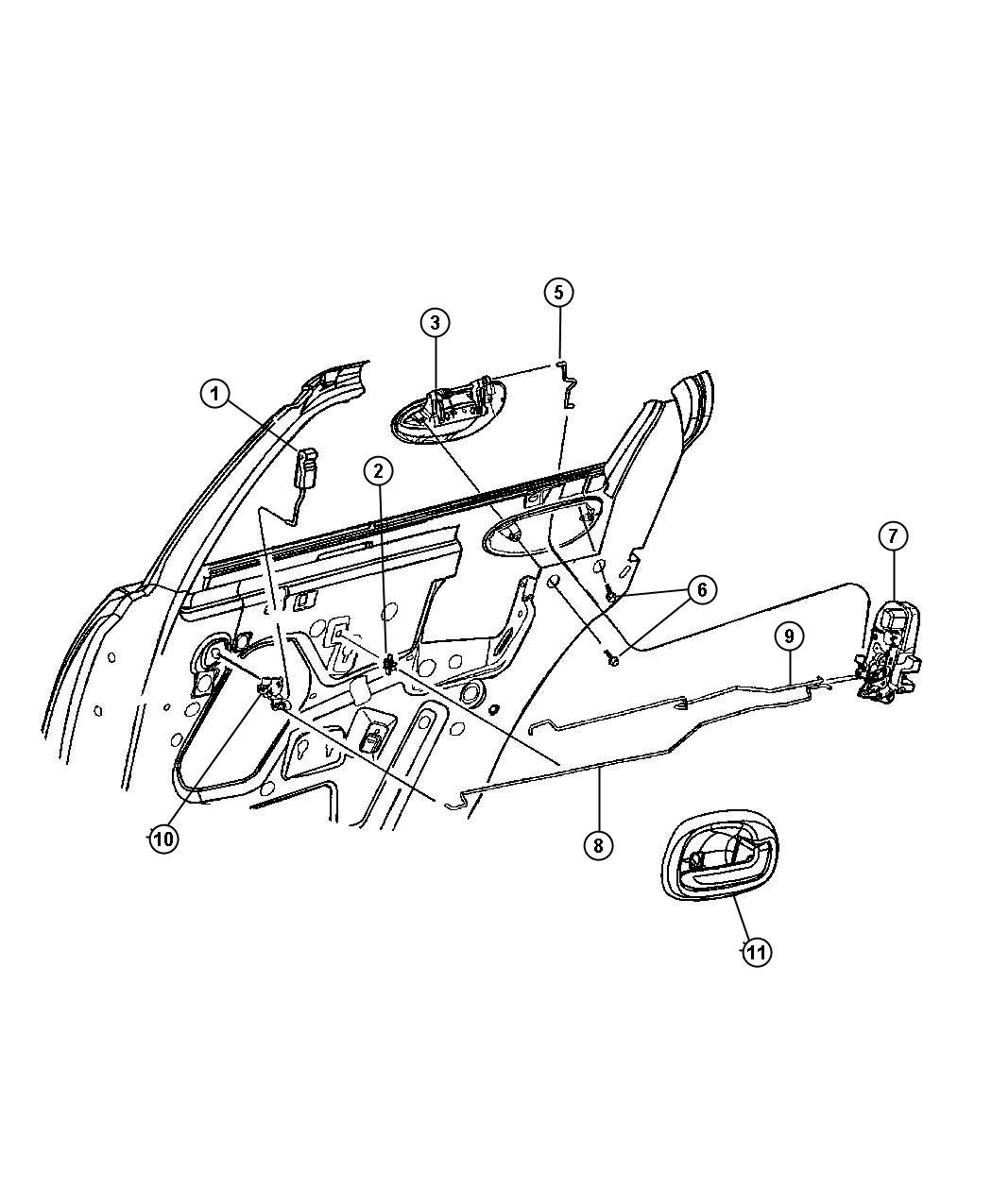 Chrysler Sebring Latch Rear Door Right Auto