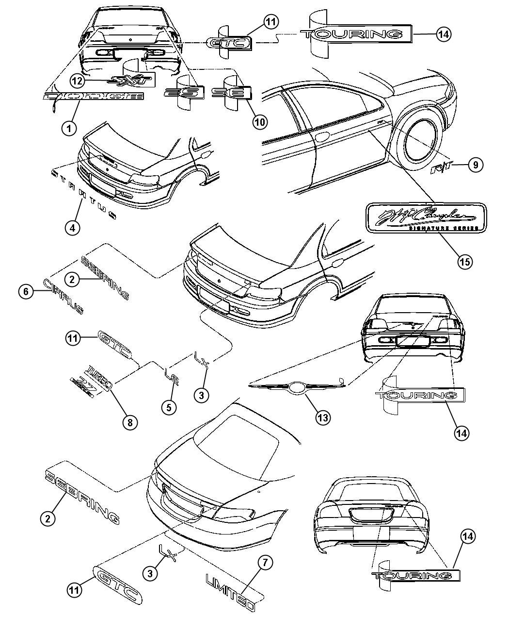 Chrysler Sebring Nameplate Stratus Badge