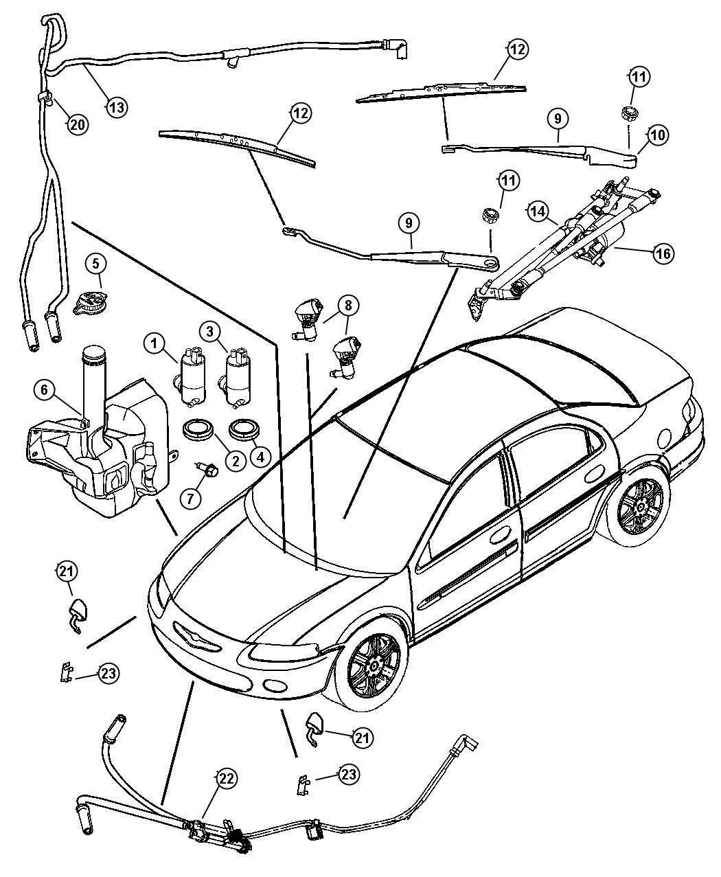 Dodge Stratus Pump Washer Windshield Rear Engine