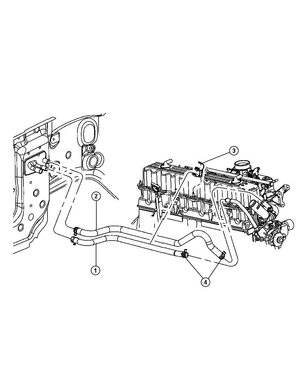 Jeep Wrangler Hose Heater Return Engine Hoses