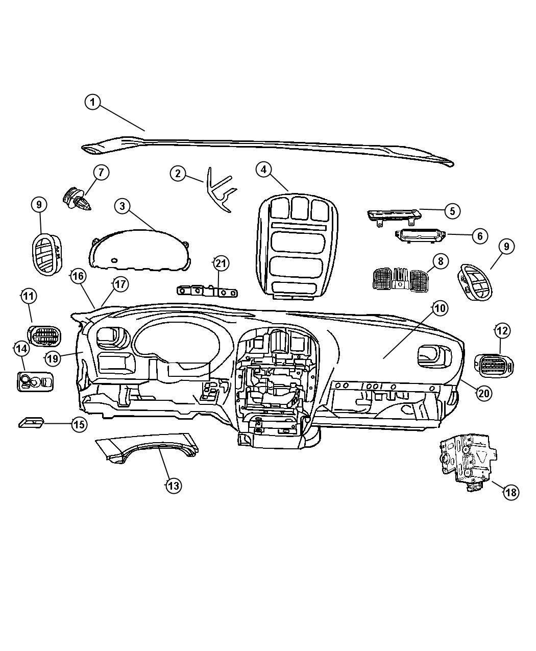Chrysler Town Amp Country Cover Instrument Panel D5