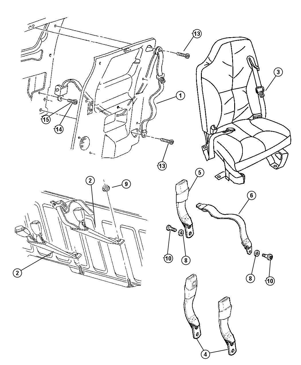 Jeep Cherokee Seat Belt Rear Inner Left Az C3