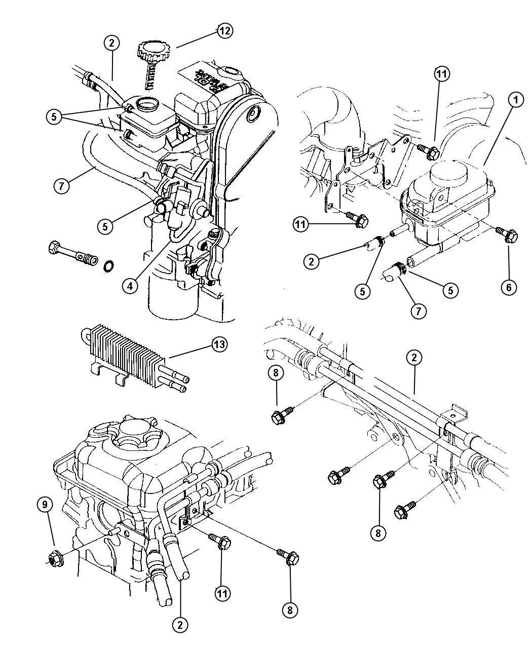 Dodge Caravan Reservoir Power Steering Pump With