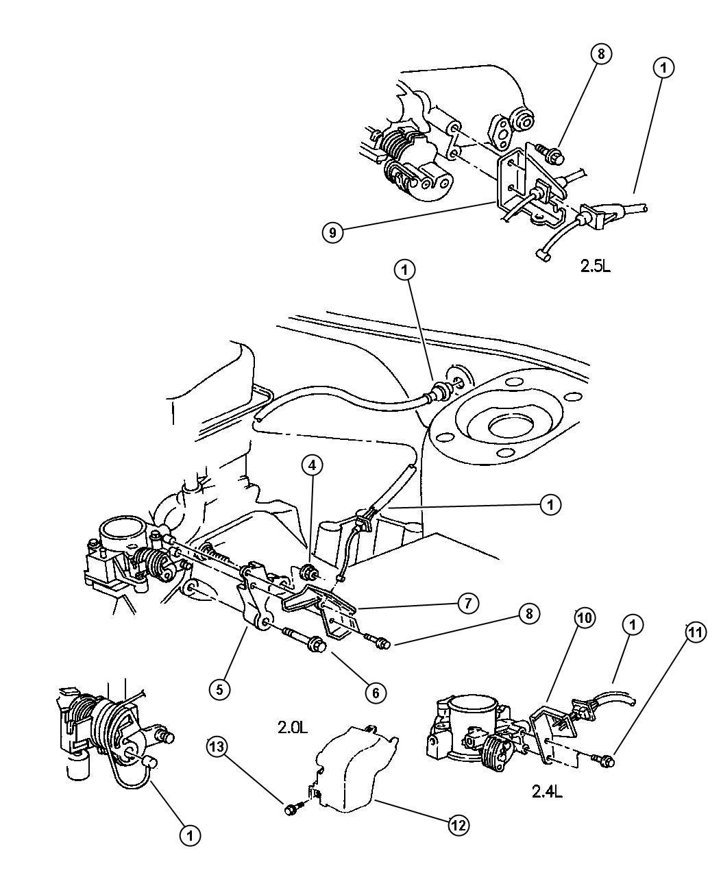 Chrysler Cirrus Grommet Throttle Control Cable