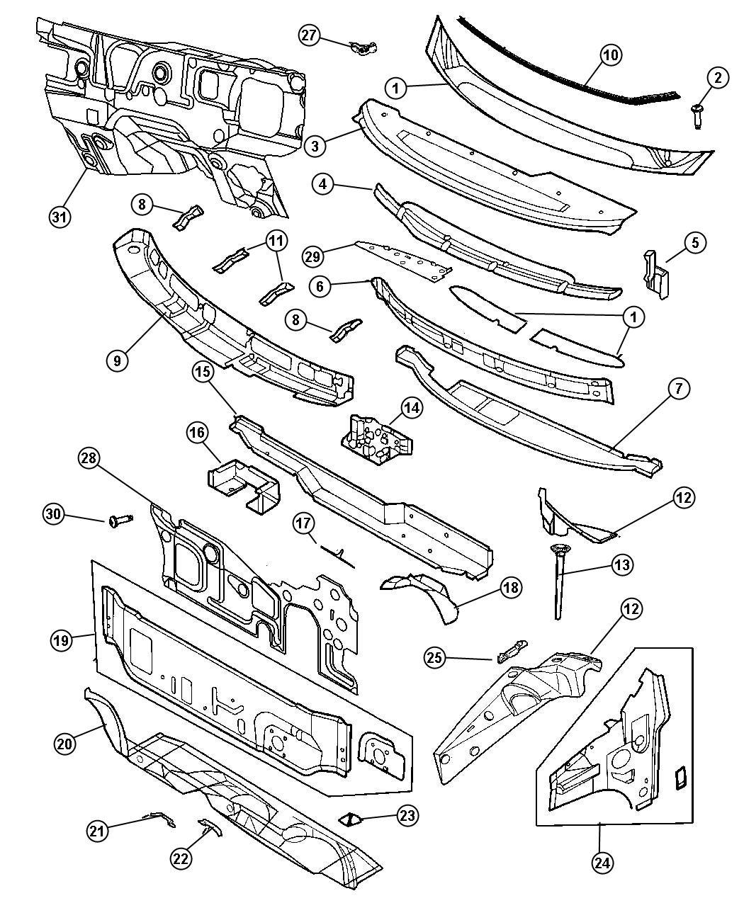 Dodge Caravan Panel Cowl Top System Wiper