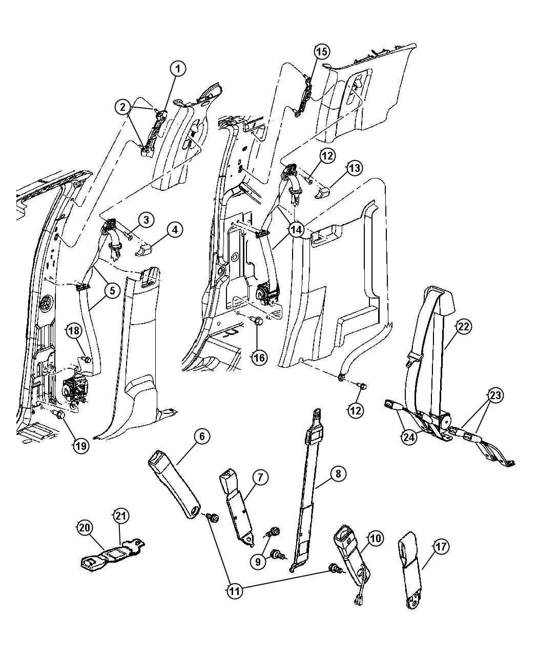 Dodge Ram Seat Belt Rear Inner D5 Trim