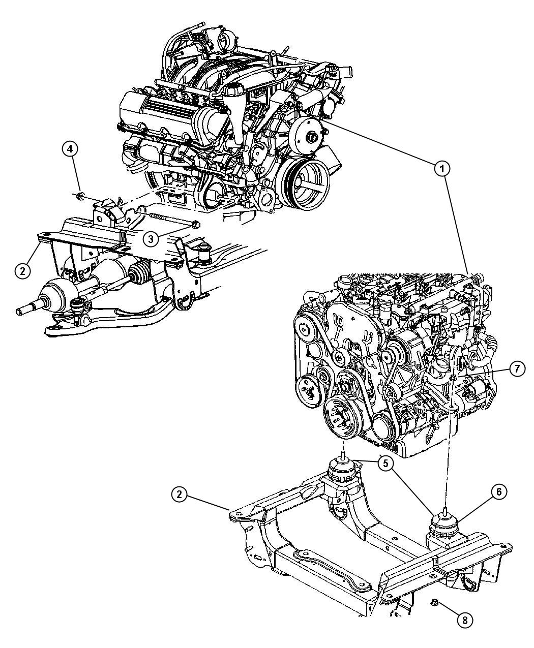 Jeep Liberty Insulator Engine Mount Shield Mounts Front