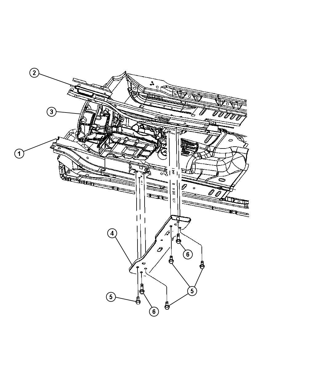 Jeep Liberty Screw Mounting Inboard Crossmember