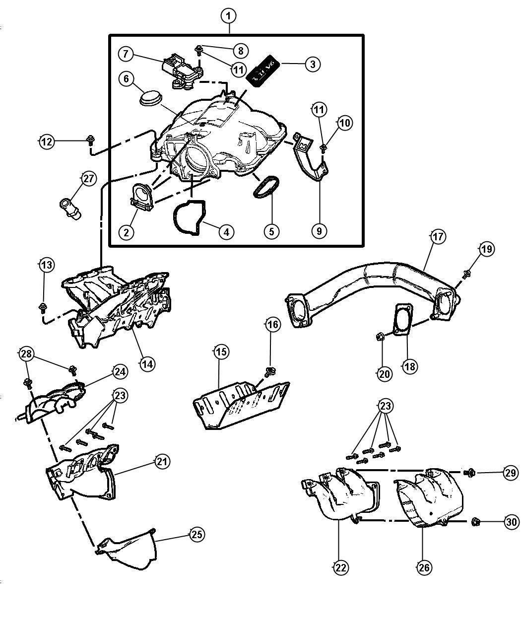 Dodge Dakota Shield Exhaust Manifold Right Upper Upper