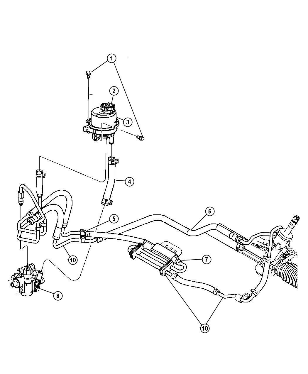 Chrysler Sebring Pump Power Steering Hoses Mounting
