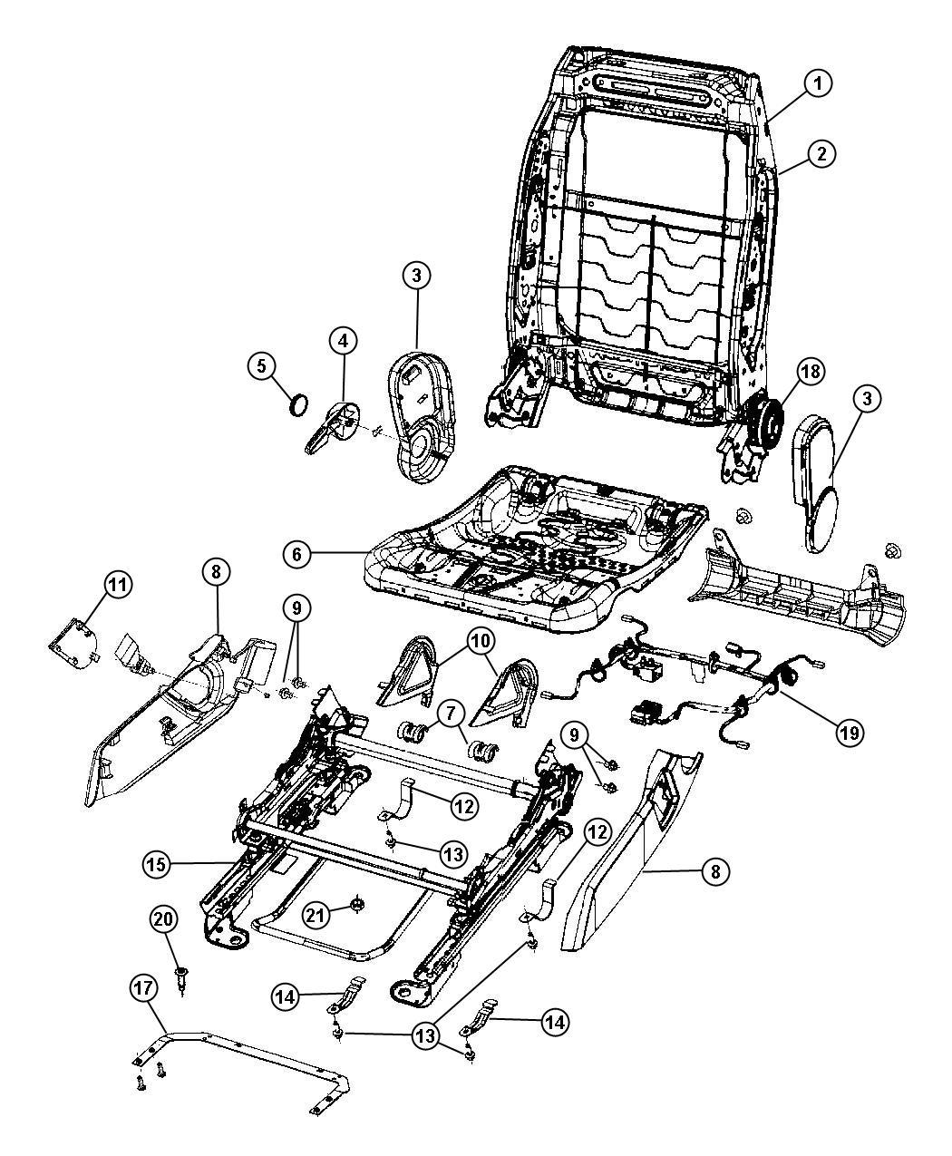 Dodge Caliber Shield Side Seat Trim Prem Cloth