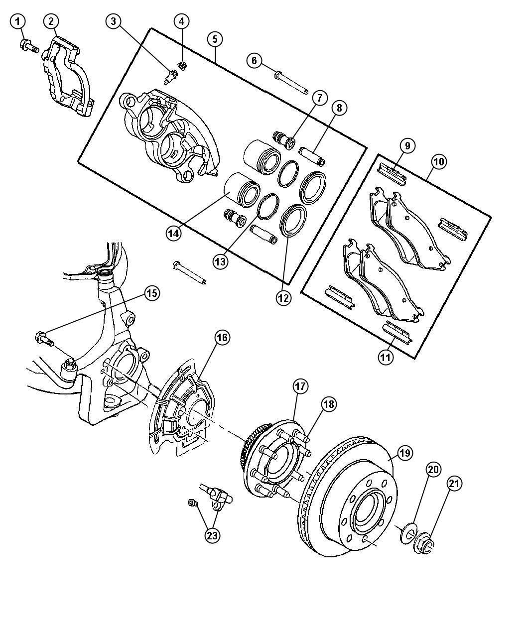 Dodge Ram Adapter Disc Brake Caliper Front Left