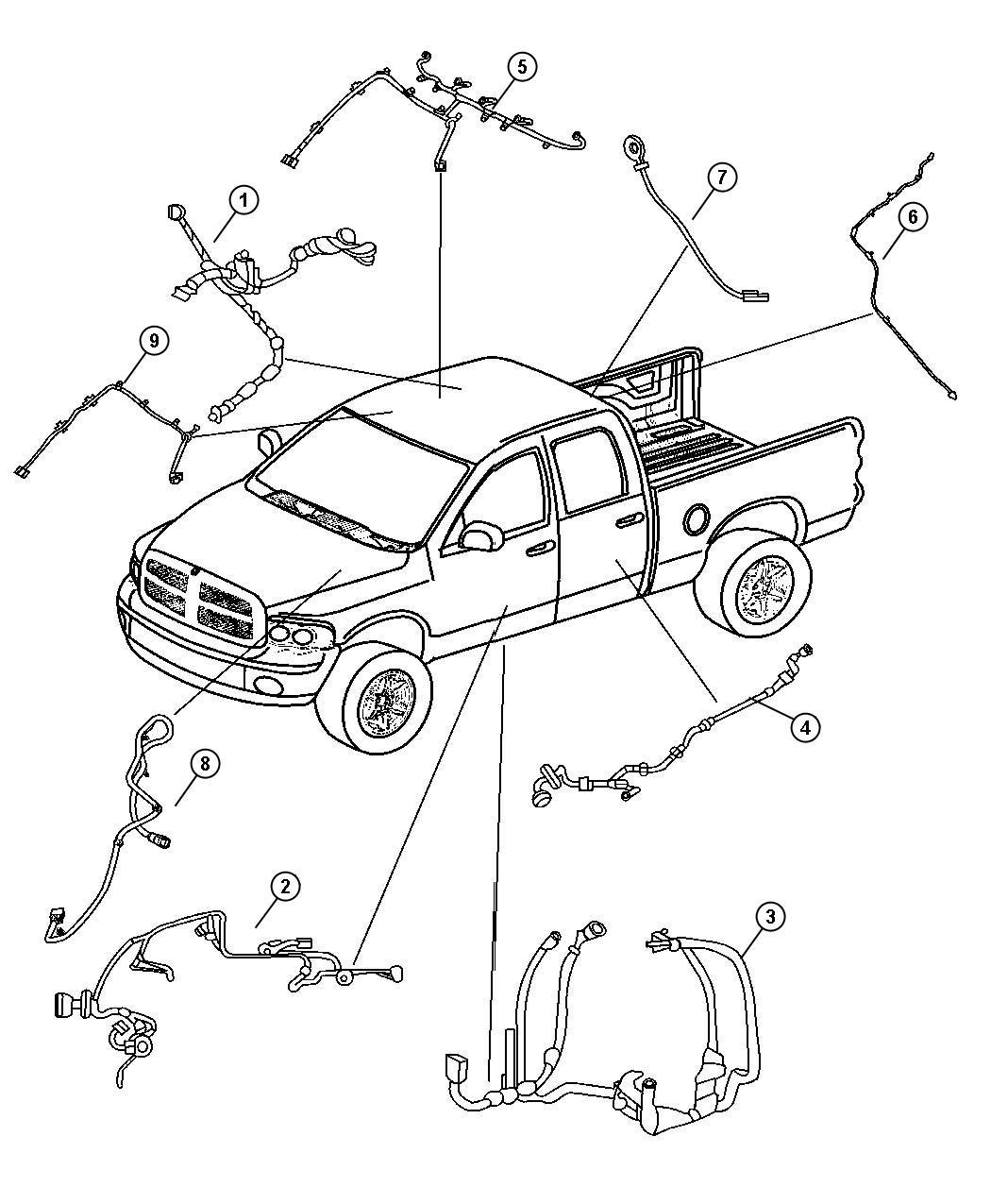 Dodge Ram Wiring Rear Door Left Right Right
