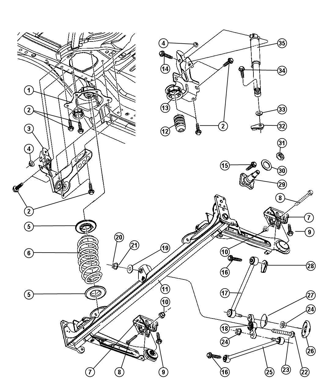 Chrysler Pt Cruiser Spindle Rear Suspension Brake
