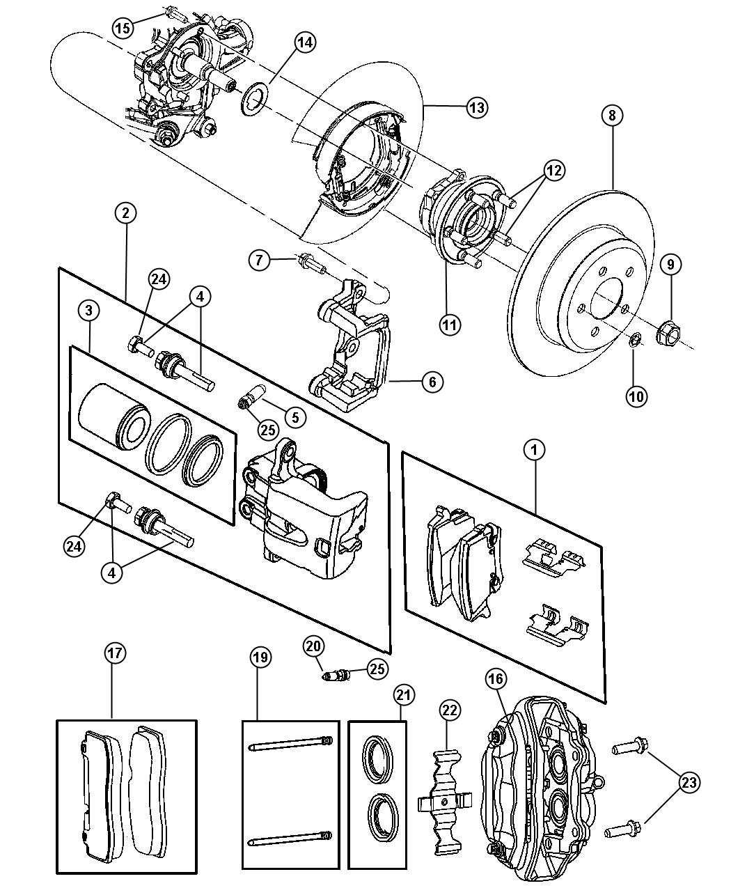 chrysler 300 shim kit brake rear brakes disc anti