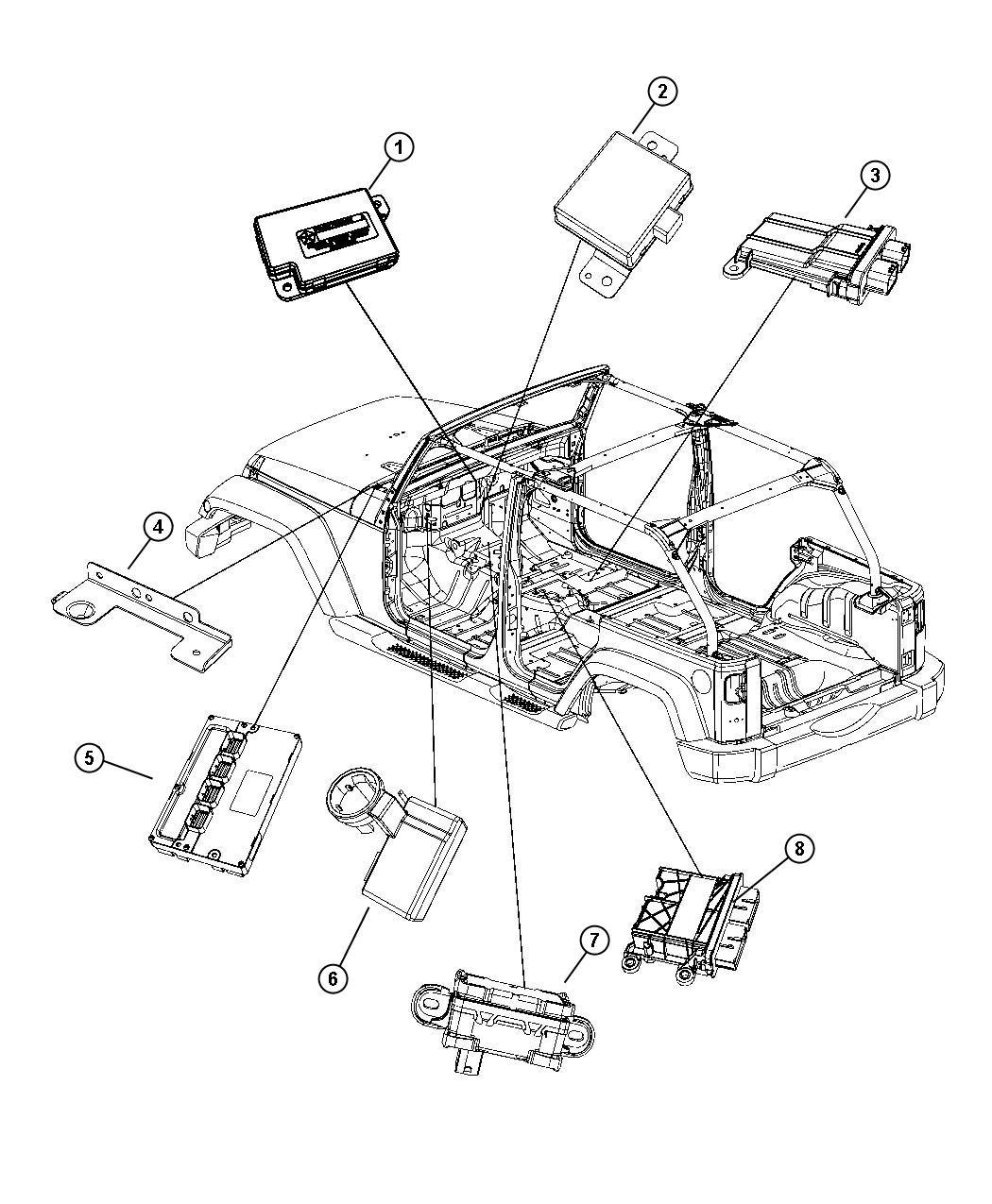 Jeep Wrangler Module Occupant Restraint Air Bags Seat