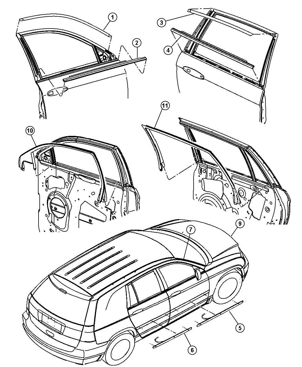Chrysler Pacifica Weatherstrip Front Door Belt