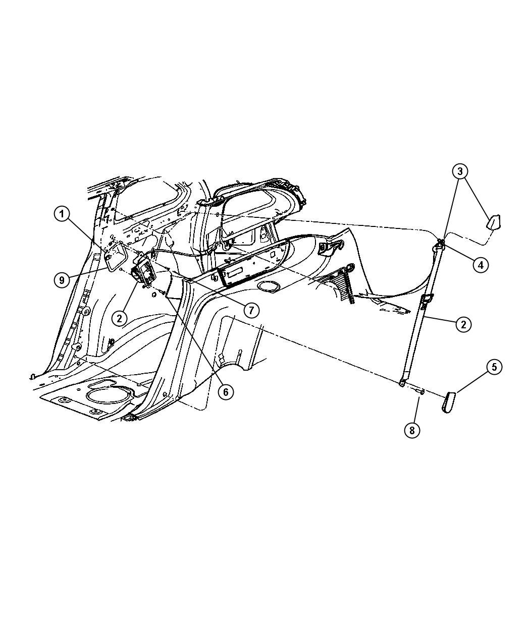 Chrysler Pacifica Seat Belt Rear Left Trim All Trim Codes Color Pastel Slate Gray