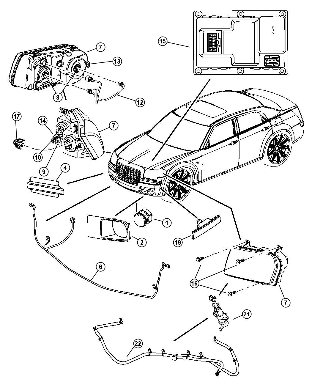 Dodge Charger Nozzle Washer Headlamp Left