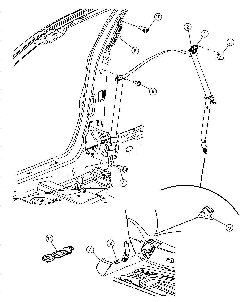 Dodge Magnum Seat Belt Front Inner Right Trim Lux