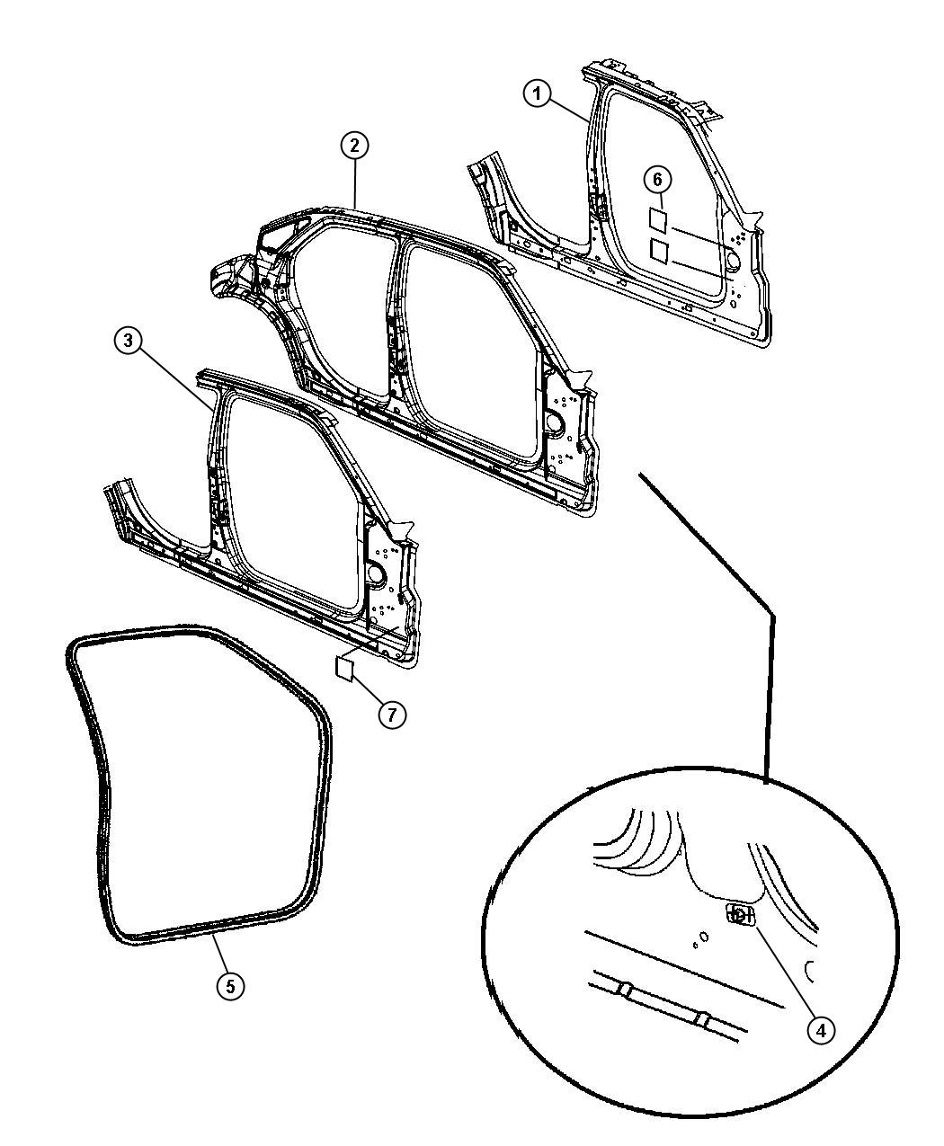 Dodge Charger Reinforcement Body Side Aperture Right