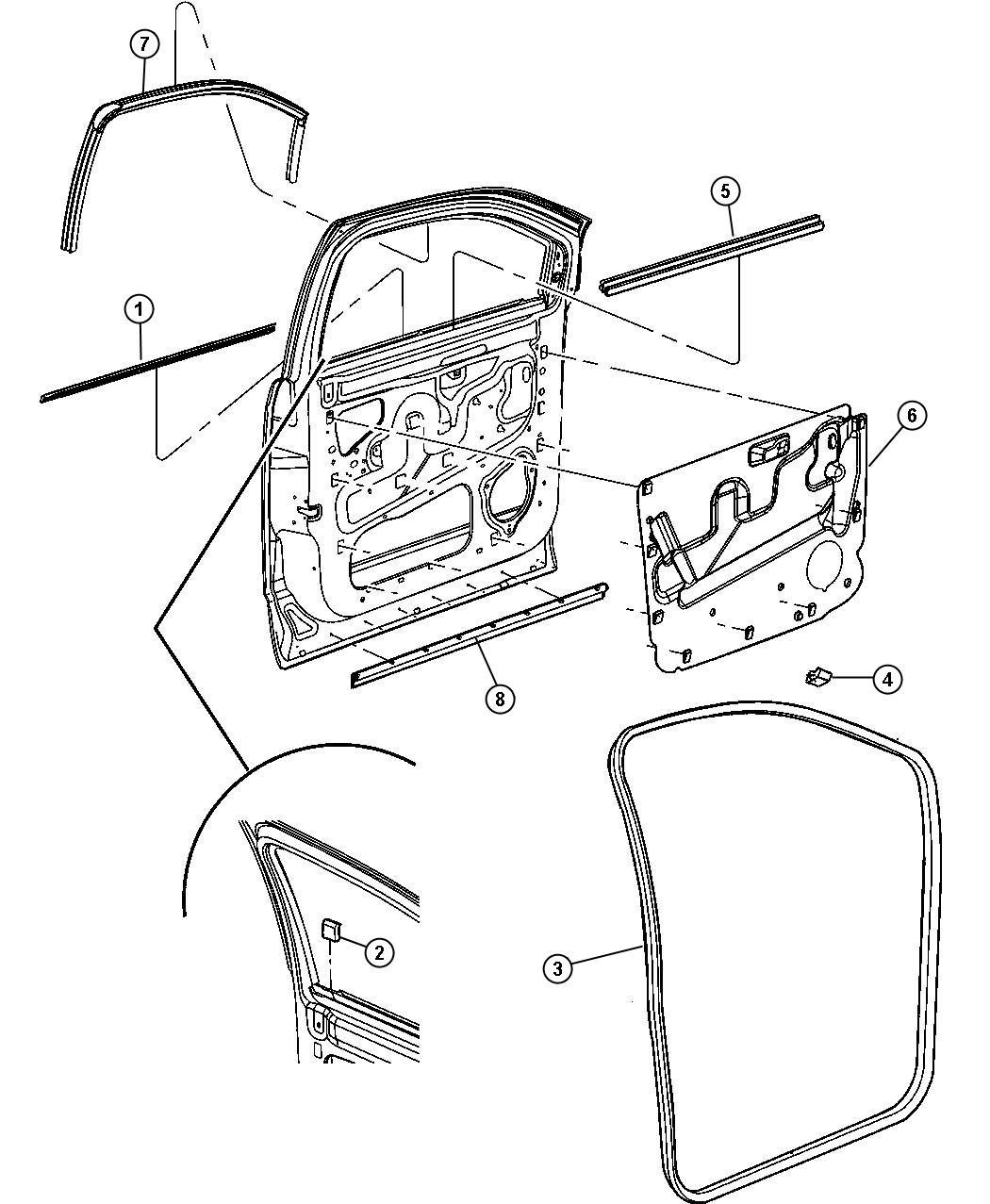 Dodge Durango Weatherstrip Front Door Belt Inner