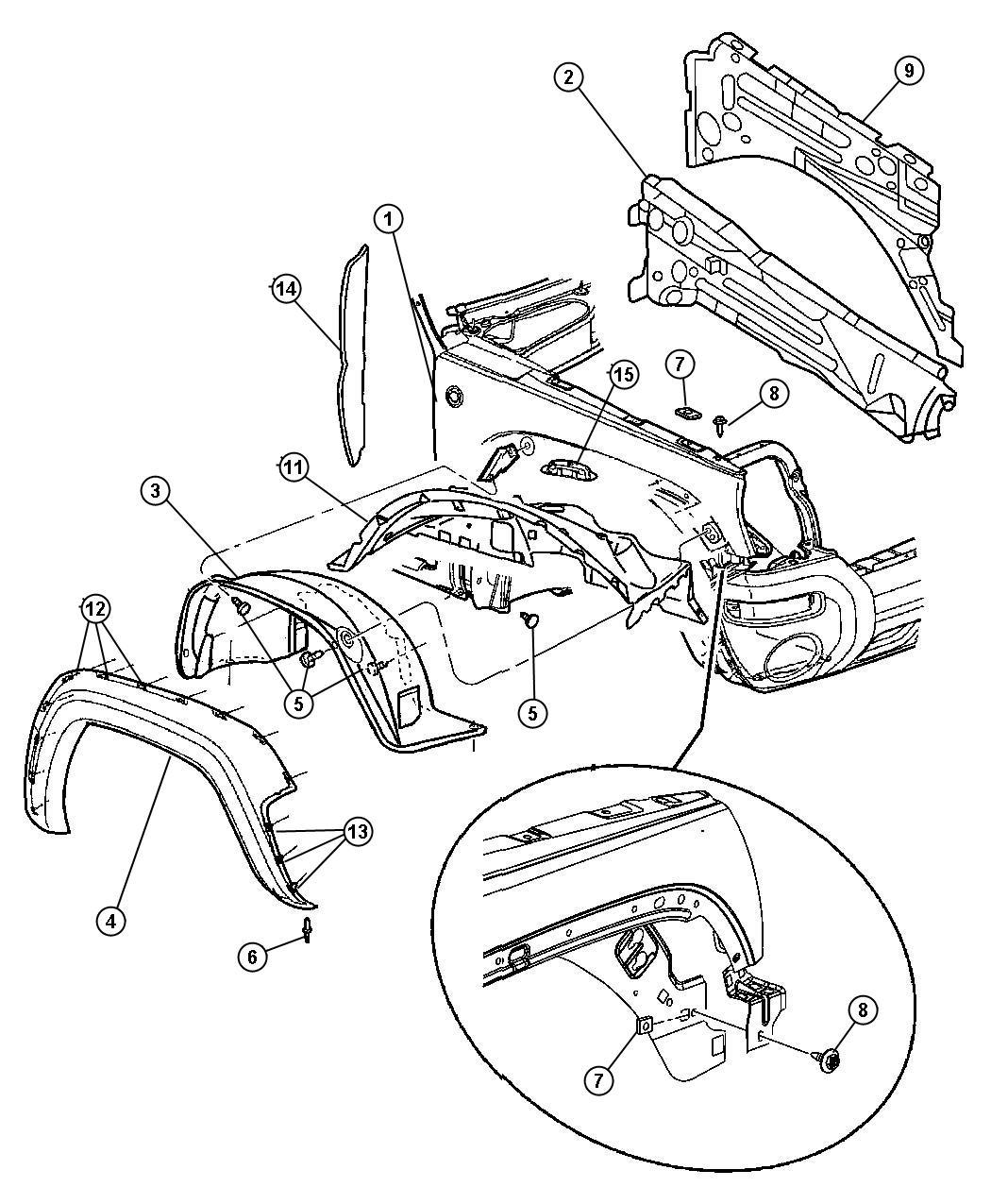 Dodge Durango Retainer Applique Front Rear Pmolded