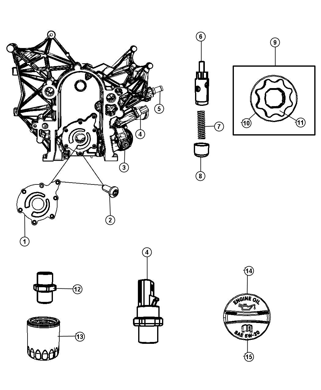 Jeep Wrangler Cover Engine Oil Pump Oiling Smpi