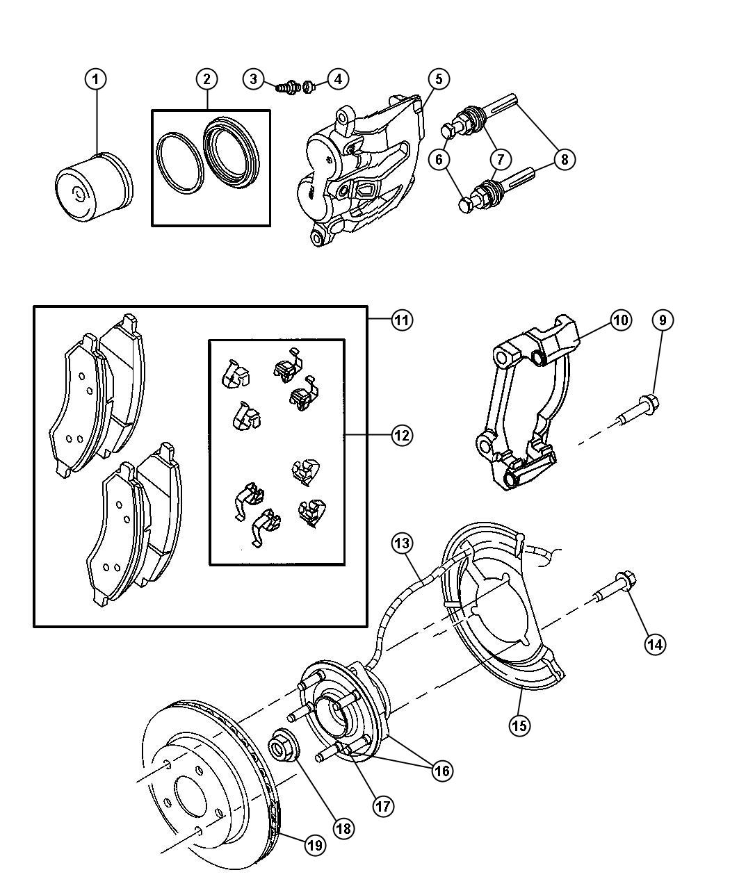Dodge Dakota Used For Hub And Bearing Brake Front