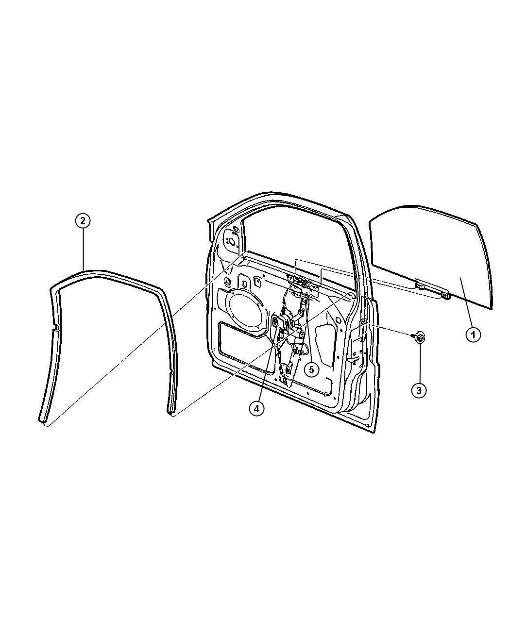 Dodge Ram Seal Glass Channel Run Door Front