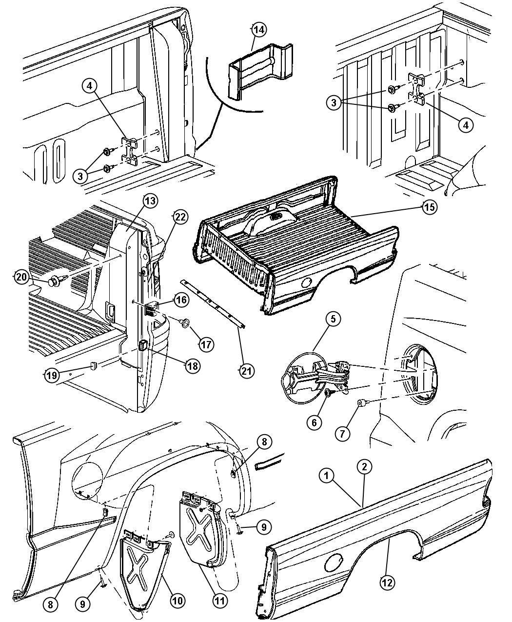 Dodge Dakota Reinforcement Box Side Right