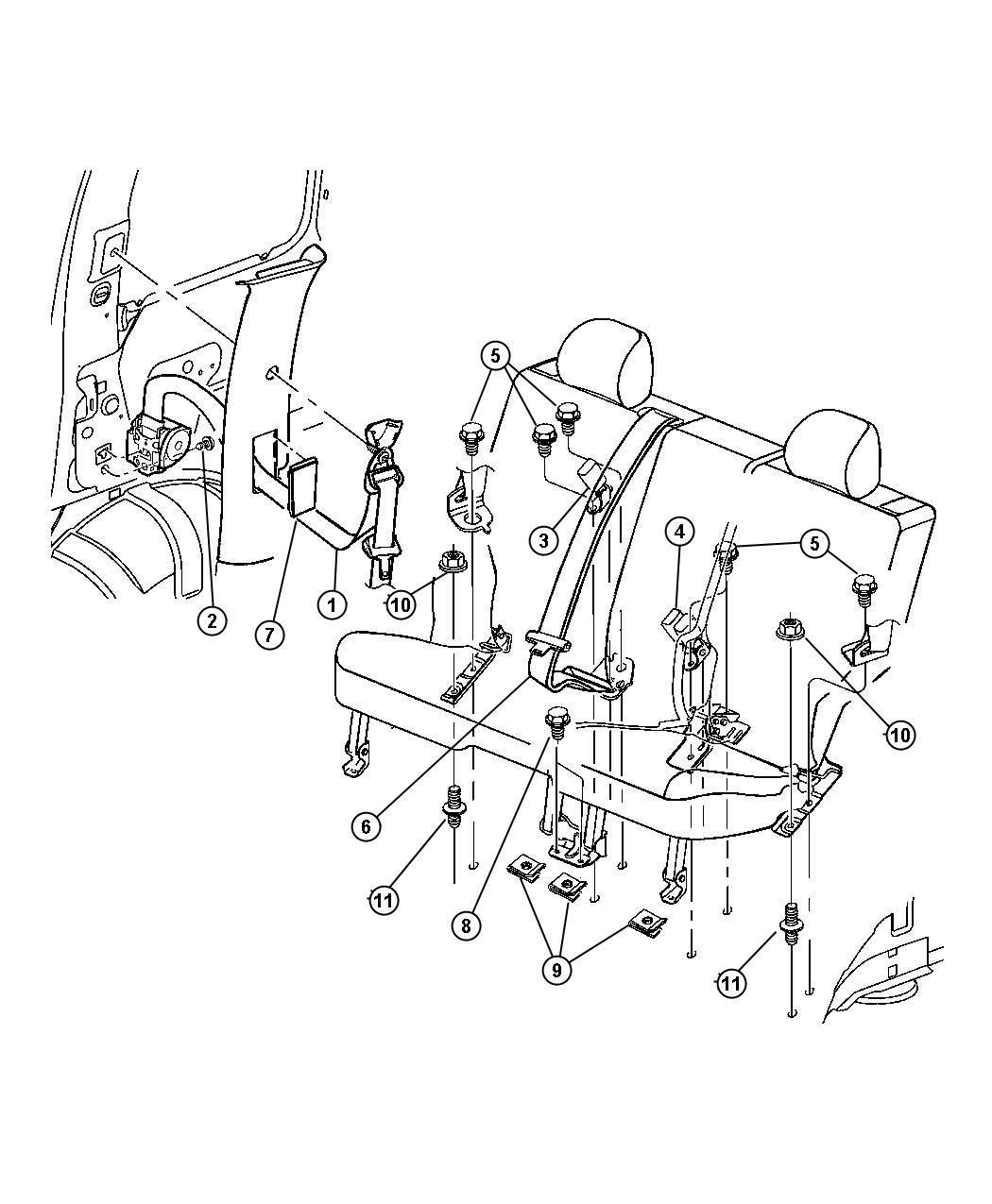 Jeep Liberty Seat Belt Rr Cntr Shoulder Trim Cloth