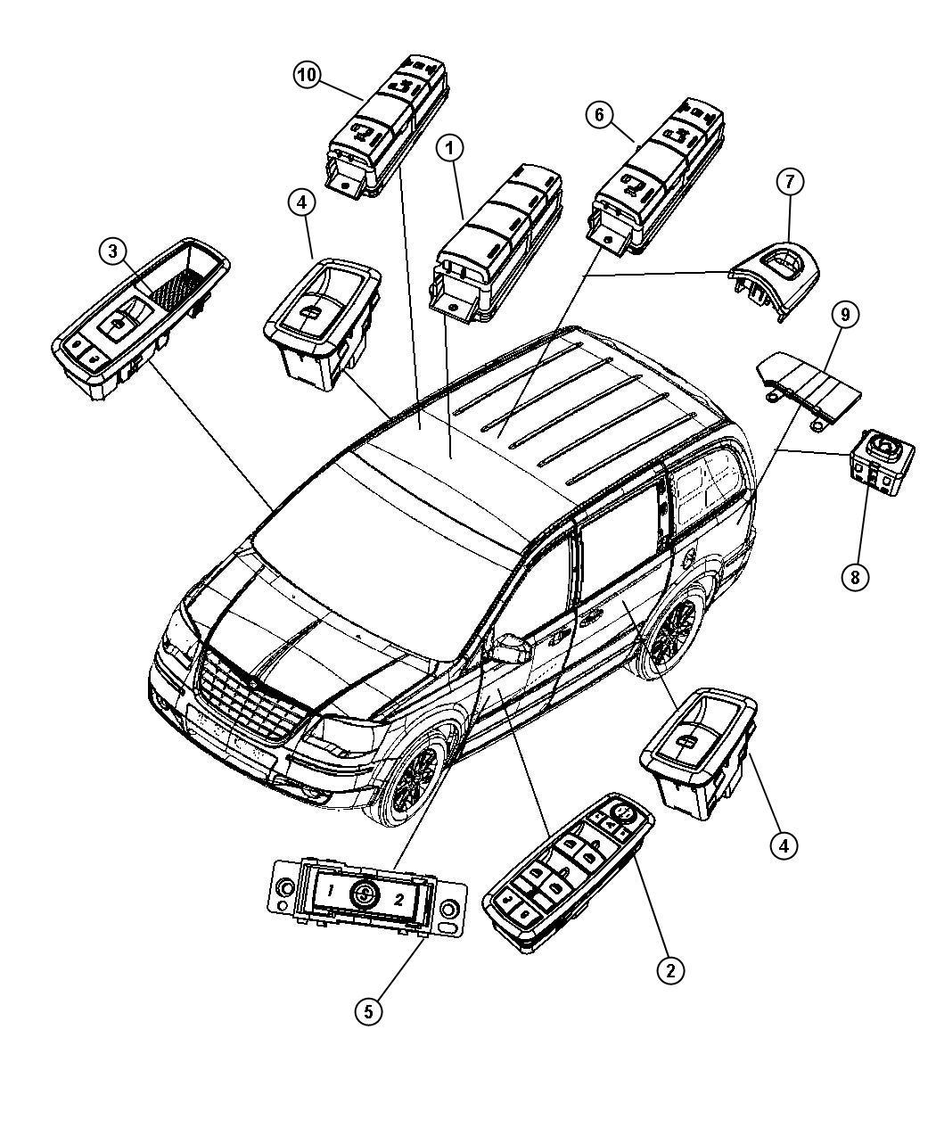 Dodge Grand Caravan Switch Power Window Expr Down Wdos