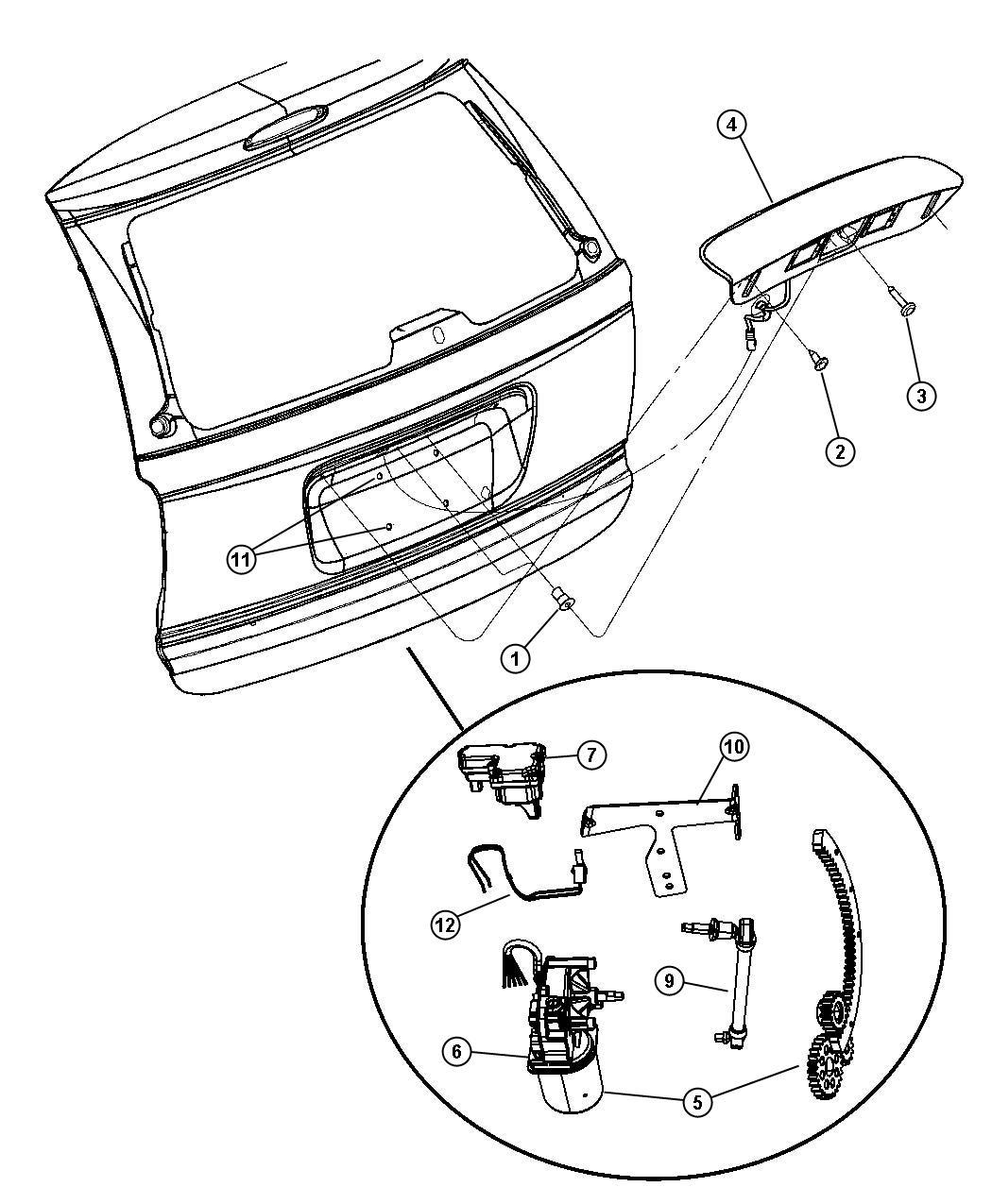 Dodge Grand Caravan Handle Liftgate Power Locks