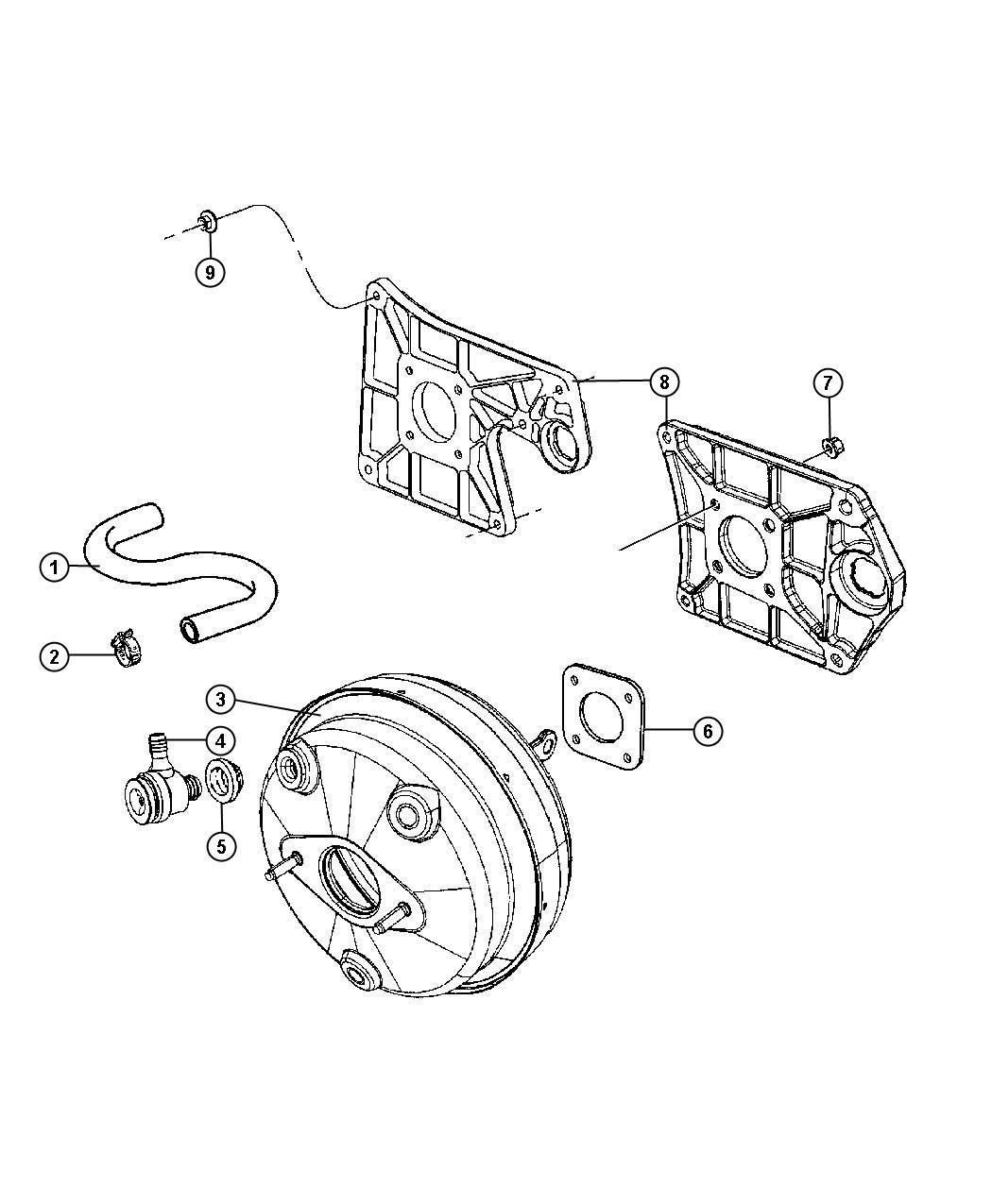 Jeep Wrangler Hose Brake Booster Vacuum All V6 Engines